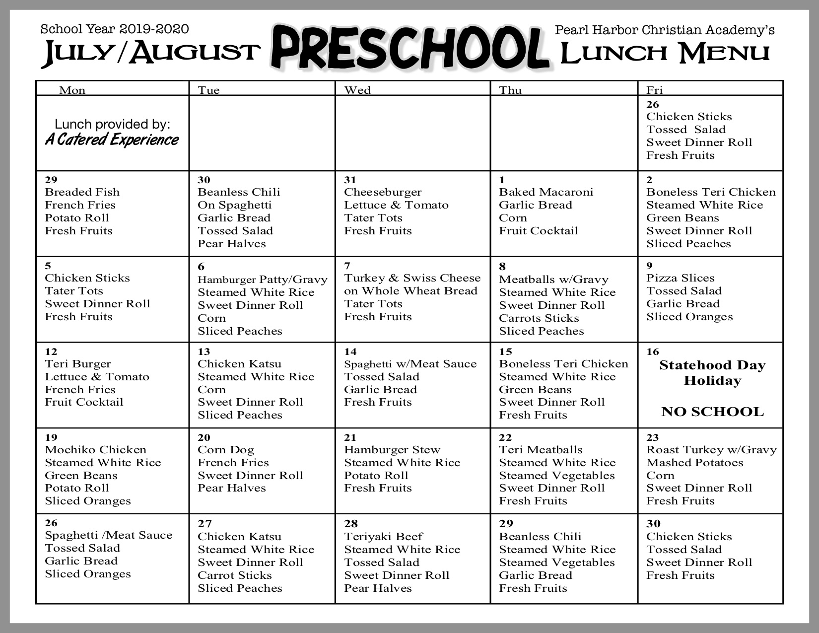 Preschool Lunch July/Aug19