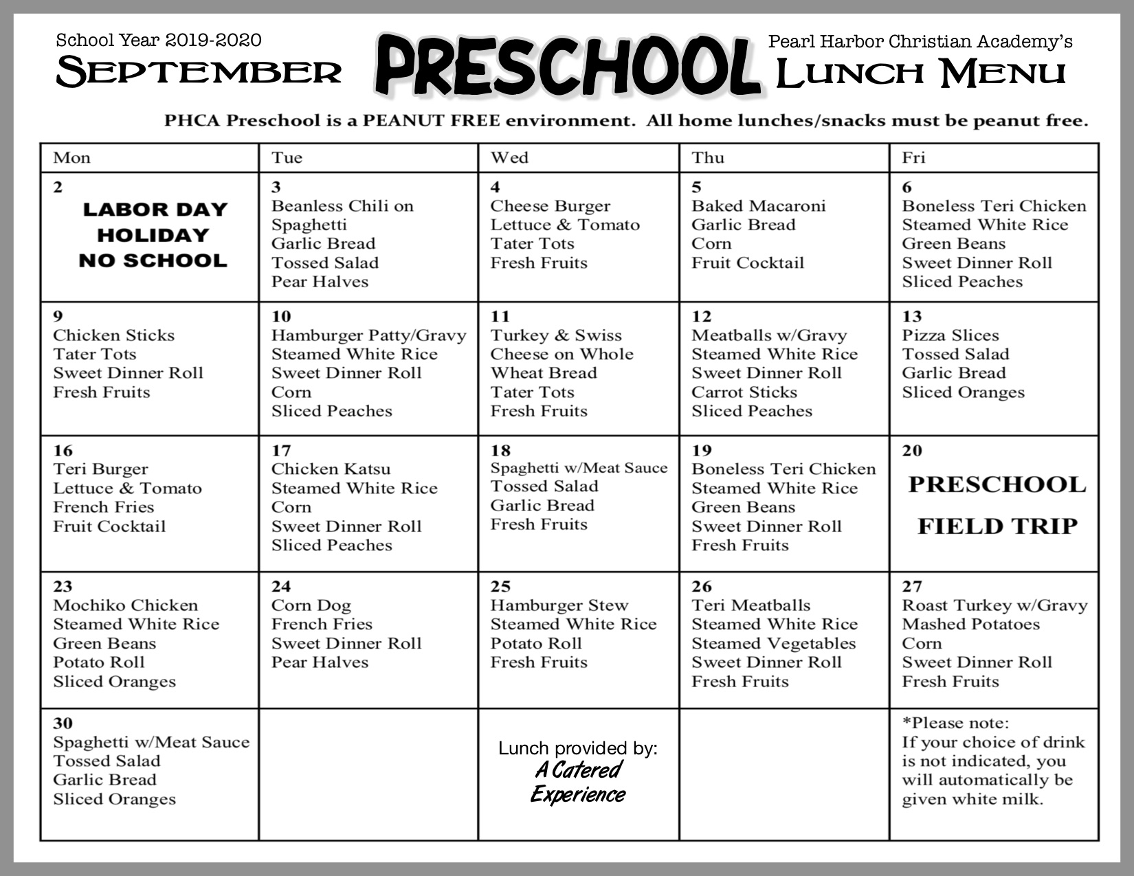 Preschool Lunch-September